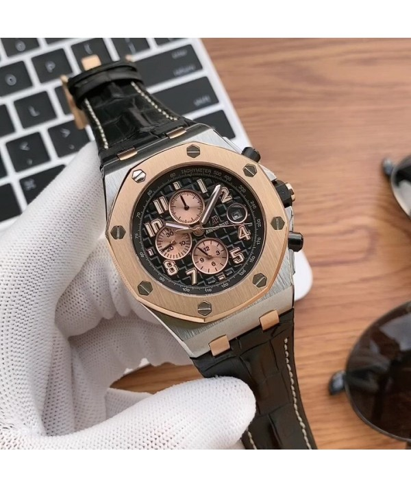 Abby Audemars Piguet Royal Oak Offshore series anti glare treatment mineral glass size 42mm   14mm waterproof adhesive tape with AP words original pin buckle with copy original 3126 zhuantuo automatic mechanical movement octagonal sand pulling steel shel