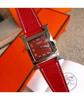 520 Valentine's Day               Real shot [Hermes H-shape China red new model]               Hermes latest color matching gift best choice Hermes Classic women's watch series the most classic style diameter 26mm versatile king original movement original